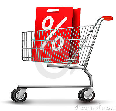 Shopping cart with Sale shopping bag