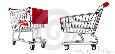 Shopping cart set isolated
