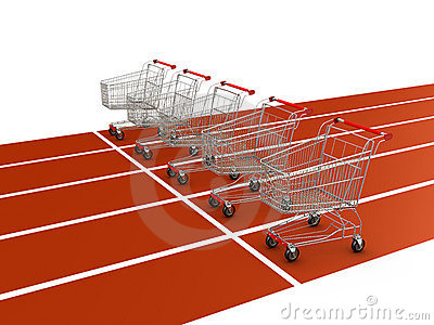 Shopping cart on starting line