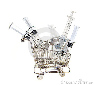Shopping cart with syringes