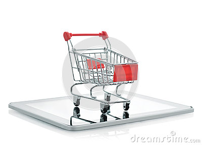 Shopping cart on tablet pc
