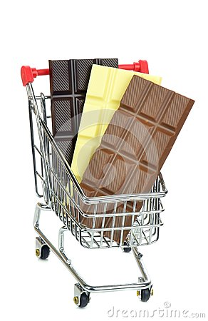 A shopping cart trolley with bars of chocolate