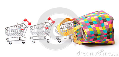 Shopping Cart With Vibrant Bag Royalty Free Stock Photos - Image: 25098268