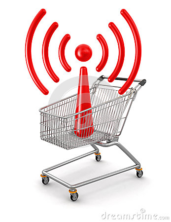 Shopping Cart and WiFi(clipping path included)