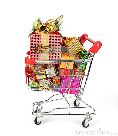 Free Shopping Cart With Christmas Gifts Stock Images - 28562444