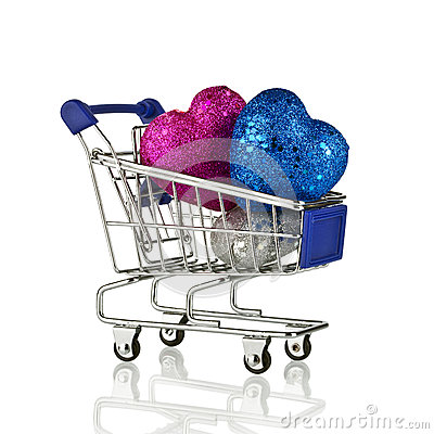 Free Shopping Cart With Christmas Gifts And Presents. Concept Royalty Free Stock Image - 64682546