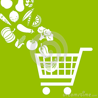 Free Shopping Cart With Food Royalty Free Stock Photography - 62795527