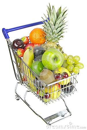 Free Shopping Cart With Fruit Stock Photography - 28025172