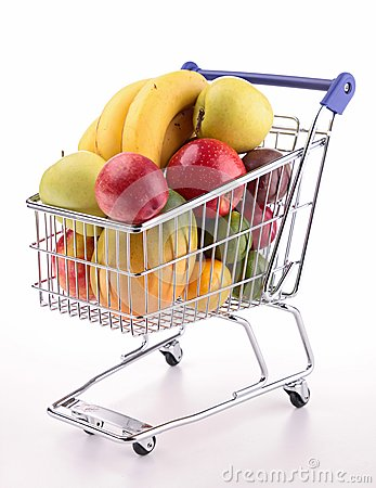 Free Shopping Cart With Fruits Royalty Free Stock Image - 30507856