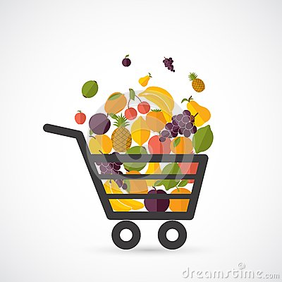 Free Shopping Cart With Fruits Stock Photos - 42988223