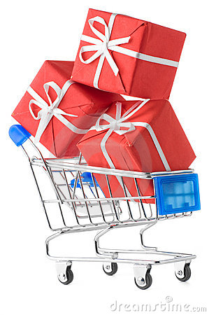 Free Shopping Cart With Gifts Stock Image - 18342521