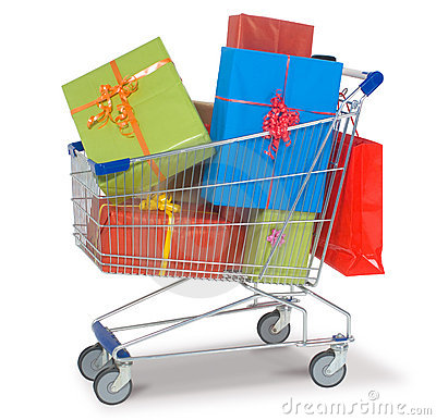 Free Shopping Cart With Gifts Royalty Free Stock Photo - 22054535