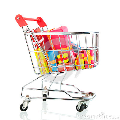 Free Shopping Cart With Presents Royalty Free Stock Photo - 35210925