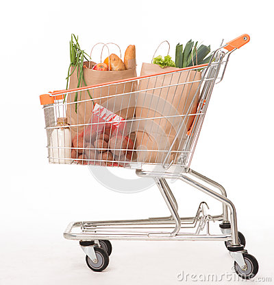 Free Shopping Cart With Shopping Bags Royalty Free Stock Photography - 66562557