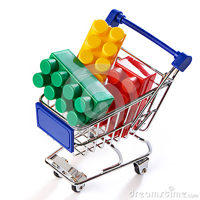 Free Shopping Cart With Toy Colorful Plastic Blocks Stock Photography - 49590902