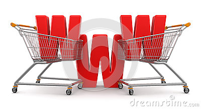 Shopping Cart and WWW  (clipping path included)