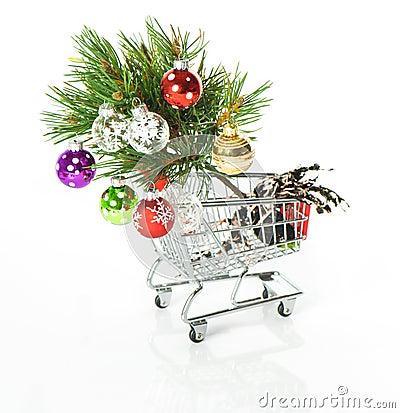 Shopping Cartoon with Christmas Tree