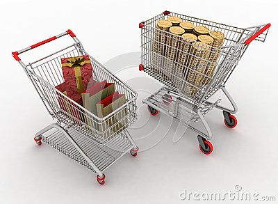 Shopping carts with boxes and dollars