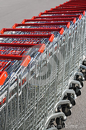 Free Shopping Carts In Rows Stock Image - 31105341