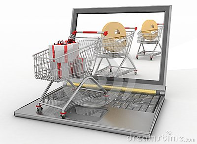Shopping carts and laptop