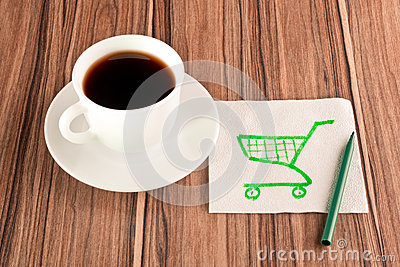Shopping carts on a napkin