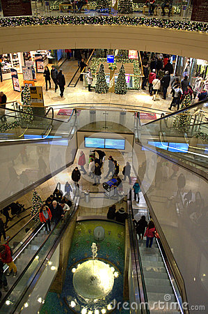 Free Shopping Center Escalators At Christmastime Stock Images - 49319364