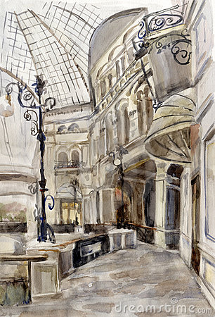 Shopping center. Watercolor