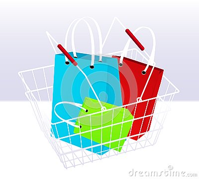 Shopping chart and bags