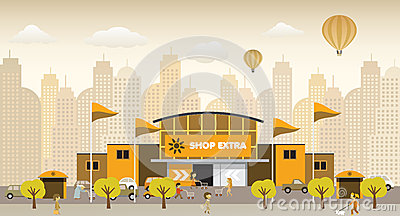 Shopping in the city (retro colors)