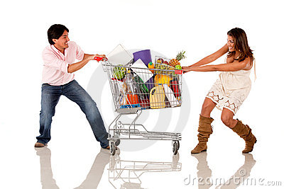 Shopping couple fighting