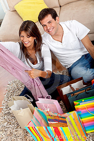 Shopping couple at home