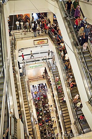 Shopping Crowd on Escalator Editorial Stock Photo