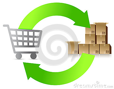 Shopping cycle illustration design