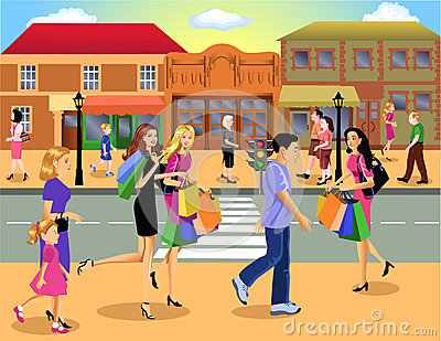 Shopping downtown