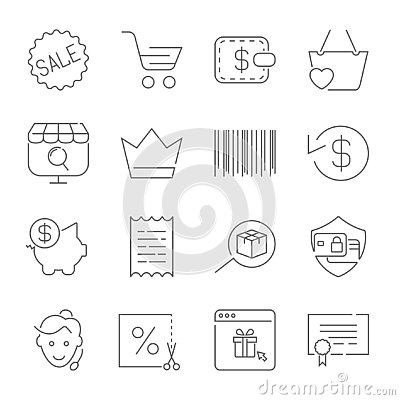 Shopping and E-Commerce pack. Line icons set for apps, programs, Vector Illustration