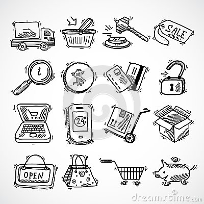 Free Shopping E-commerce Sketch Icons Set Stock Photography - 46137062
