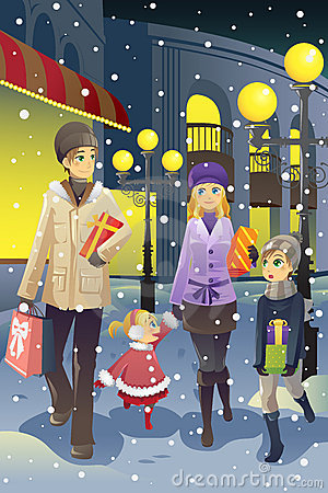 Shopping family in winter