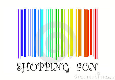 Shopping Fun with barcode in rainbow colors