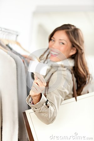 Shopping gift card woman happy