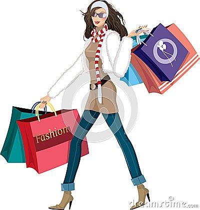 Free Shopping Girl Stock Photography - 17043612