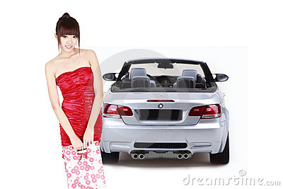 Shopping girl with car
