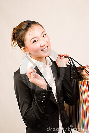 Shopping girl with card