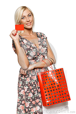 Shopping girl holding empty credit card