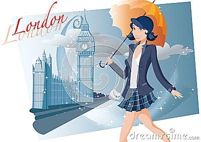 Shopping girl in London