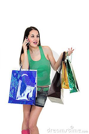 Shopping girl with phone