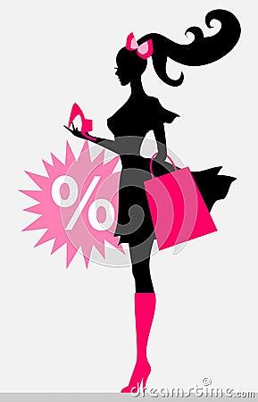 Shopping girl - sale