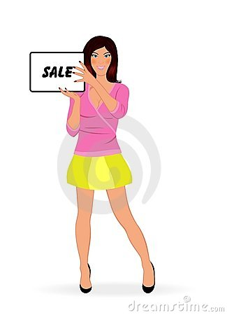 Shopping girl showing message board   sale