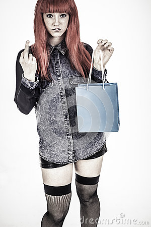 Shopping girl with strong attitude