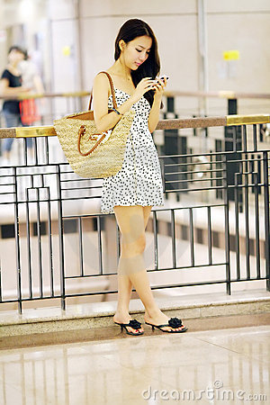 Shopping girl texting