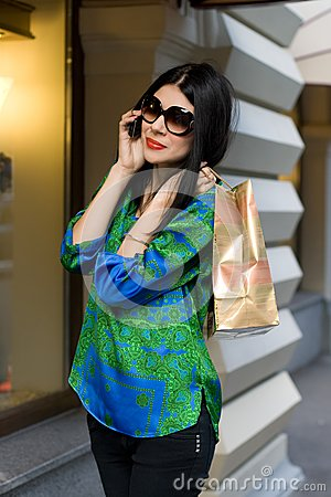 Shopping girl walking outdoor